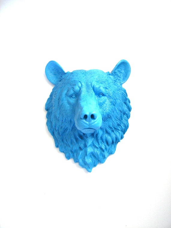 PERIWINKLE BLUE Faux Taxidermy Large Bear Head Wall Hanging/Wall Mount in Periwinkle Blue // kids room / office // faux bear // blue nursery