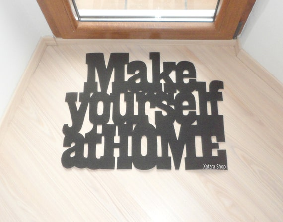 make yourself at home doormat with customizable sign. Black Bedroom Furniture Sets. Home Design Ideas