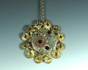 Golden Tick-Tock Flower Steampunk Necklace , steampunk flower, steampunk pendant.
