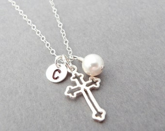 Silver Cross Necklace Sterling Silver Cross Personalized Necklace Mothers Necklace Cross Jewelry Christian Jewelry Baptism First Communion