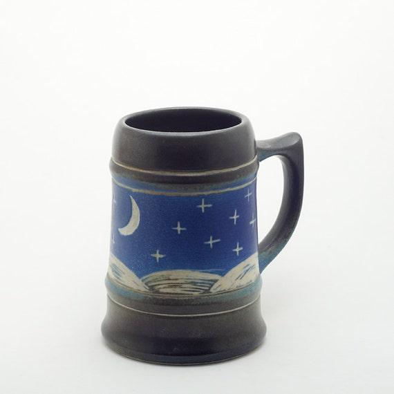 Big Coffee Cup Tea Mug Night Sky With Moon Ii
