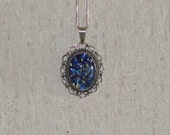 Opal  Vintage Necklace Blue With 21 inch Silver Chain