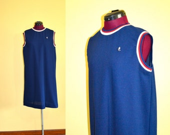 1970s Vintage Plus Size Queen Casuals Navy Blue Jersey Shift Dress size 18 (XL) bust 40