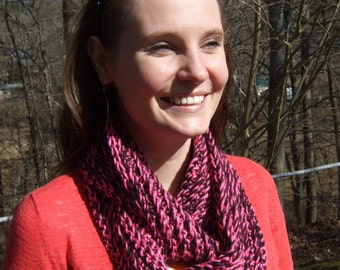 Infinity Scarf, Chunky, Crochet, Bright Pink and Black, Two-Tone, women's circle scarf