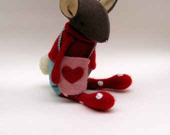 Brown Woollen Bunny dressed in red woollen tights - Handmade plush sculpture wearing red pullover and felt shorts.