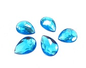 Aqua18x25 TearDrop / Pear Shaped Acrylic Flat Back Rhinestones, No Holes, 5 Pieces, Supply Item for Crafts, Jewelry and Art Projects