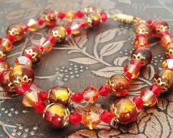 Red and Gold Bracelet, Lampwork and Swarovski