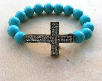 Gypsy Jewelry - Boho Jewelry - Turquoise Bracelet - Cross Bracelet - Boho Bracelet
