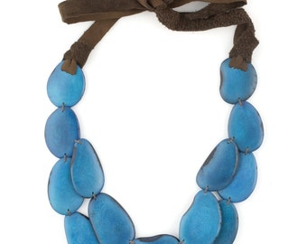 Tagua & Leather Eco Friendly Statement Necklace SACHA Style in Cobalt Blue