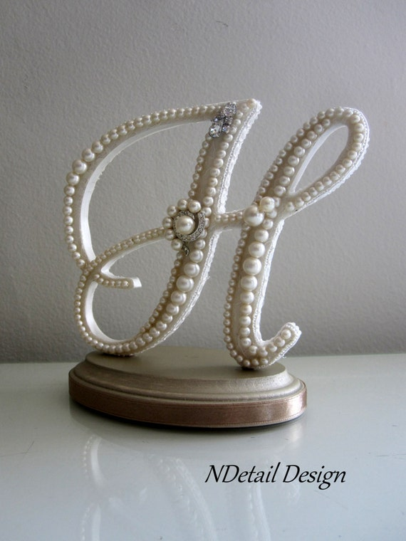 Wedding Cake Toppers Letter H : Items similar to Wedding Cake Topper Monogram Letter H in ...
