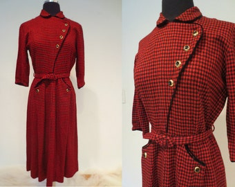 SALE**1940's 'Lady Alice' Red and Black Wool Dress with Diagonal Bodice and Belt