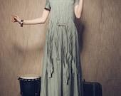 Maxi Linen Dress with pleated tassels / Long linen Dress Gown in celadon / Maxi Kaftan Dress / Loose fitting Caftan / Custom XS-XXL A8052