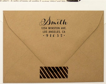 Custom Return Address Stamp - Fancy Cursive Pen Self Inking Address Stamper - Weddings