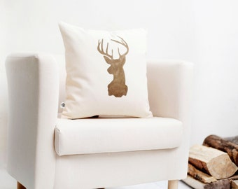 Deer head cushion cover Reindeer Christmas pillow gold print modern pillow winter pillow  0128