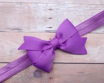 Lilac headband with 3 inch bow - light purple baby headband, light purple newborn headband