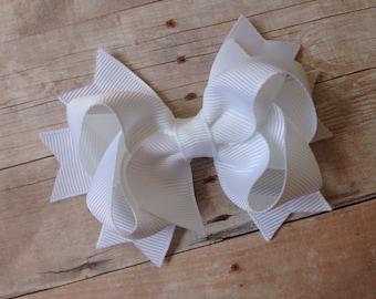 White boutique bow - boutique hair bow, white hair bow, toddler bows, girls hair bows, white bows, girls bows