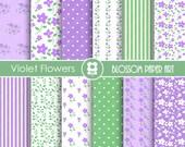 Violet Digital Paper Violet Flowers Digital Paper Pack, Violet & Green Floral Papers - INSTANT DOWNLOAD - 1768