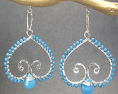 Hammered swirl earrings choice of green turquoise blue magnesite turquoise Luxe Bijoux 100