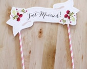 Wedding Cake Topper Paper Banner Names Quote Handmade Cream Purple Pink Custom Made Flowers Floral