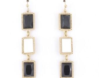 Beautiful Gold-tone Black and White Triple Rectangle Stones Long Dangle Drop Earrings,H2