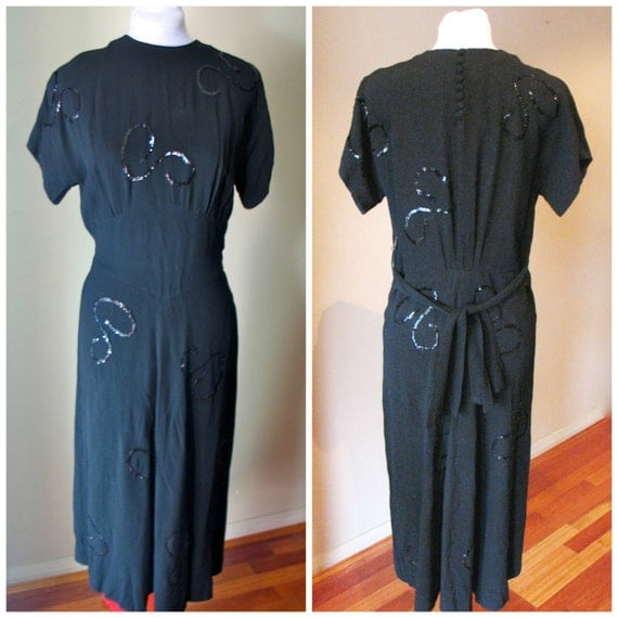 Vintage 1940s Black Crepe 'Sequined Swirls'  Gown - M to L