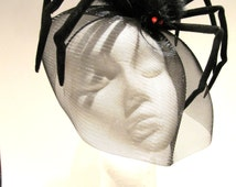 Spider Fascinator_ Halloween Headband- Spider Costume- Black Horse Hair net -Black Fascinator_ Made in USA- Halloween