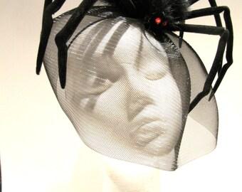 Black Spider Fascinator- Spider Costume- Halloween Headband- Black Widow- Black Halloween Fascinator -Made in USA- Halloween