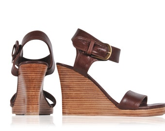 DREAMER. Leather wedges  / women shoes / high heels / leather shoes / brown leather.  sizes 35-43. Available in different leather colors.