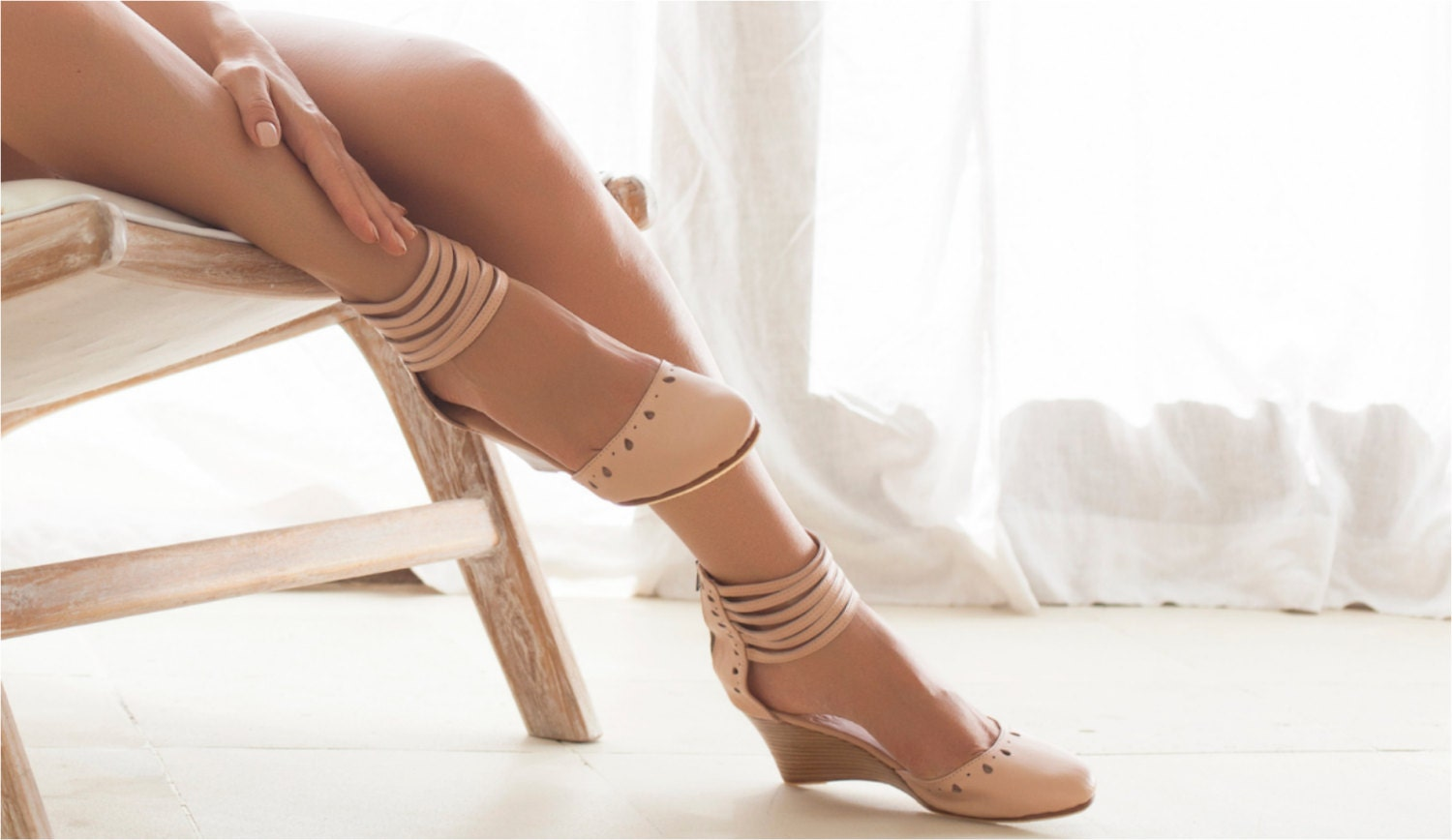 ANATOLIA. Nude leather wedges / bridal wedge / high by BaliELF