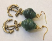 Brass Anchor with Green Resin Beads