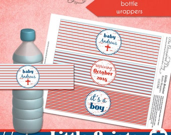 Little Aviator CUSTOM Bottle Wrappers • PRINTABLE • Baby Shower • by The Occasional Day