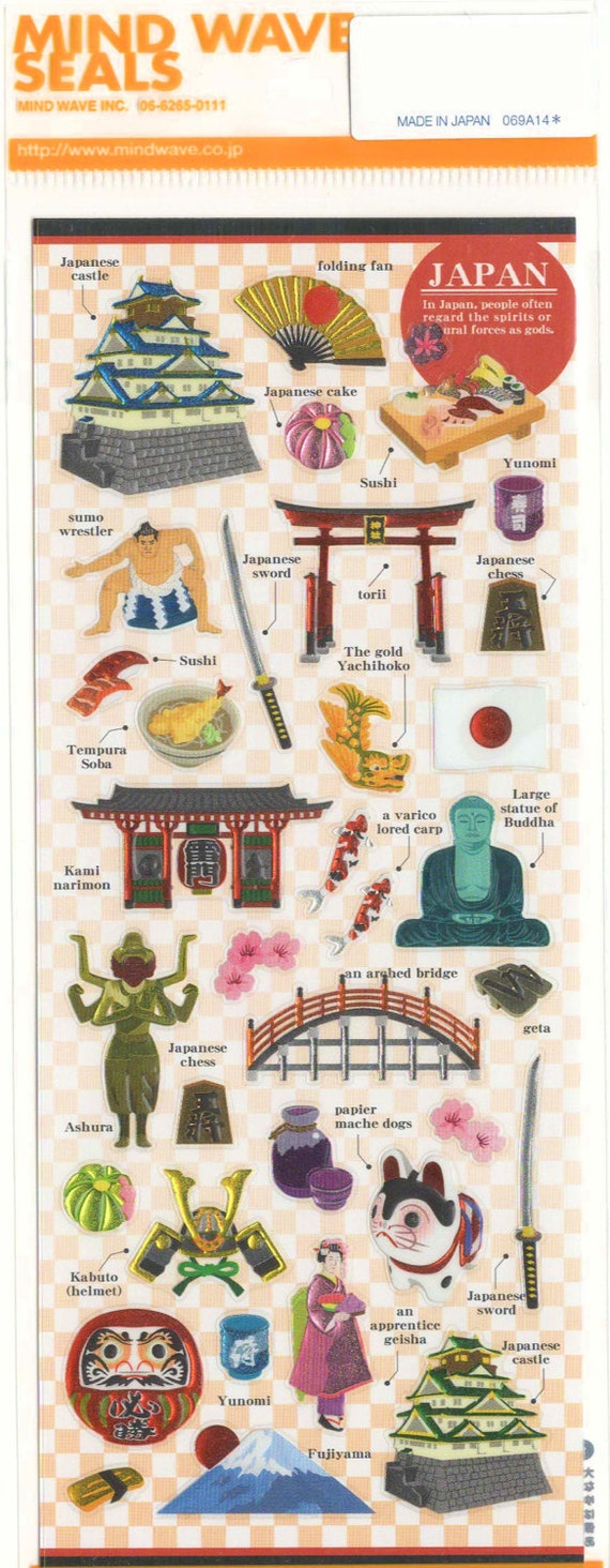 Japanese Sticker Sheet Assort: Japan Travel Cultural Icons Castle Sushi Sumo Wrestler