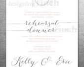 Rehearsal Dinner Invitation, Monogram Plate, Whimsical, Customizable, Printable #133