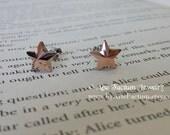 Pegasus genuine Swarovski crystal stars in rose gold color, sterling silver rhodium plated studs sparkle earrings