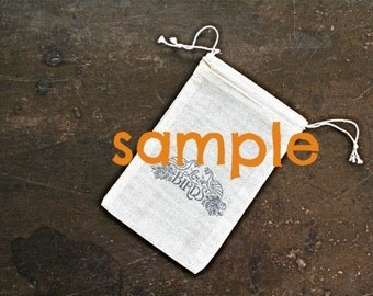 SAMPLE - Wedding favor bags, drawstring muslin bags.  Please choose design.
