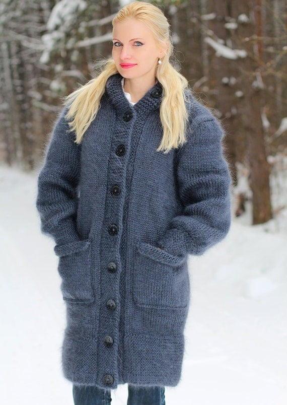 Knitting Pattern Mohair Jacket : Hand knitted mohair coat in bluish gray by SuperTanya