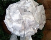 Silvery White Christmas Tree Topper Bow - Medium - Brilliant White Ribbon with Silver Pine Tree Print and Four Matching Short Trails