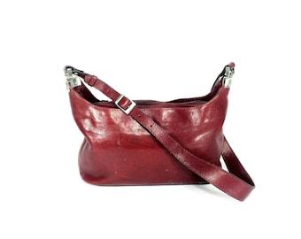 Red Leather Vintage ADAX Bag - Italian Designer Satchel - Vintage Adax Purse
