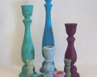 Distressed Bohemian Decor Candlestick Set - Colorful Boho Decor - Gypsy Decor - 8 Piece Candle Holder Set - Jewel Tone Wooden Decorations