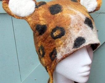 Hand Felted Leopard Winter Hat with leopard print spots