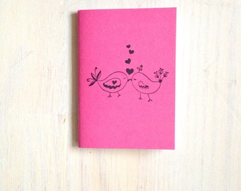 Small Notebook: Valentines, Love Birds, Kissing, Pink, Gift, Valentine's Day, For Her, For Him, Mini Journal, Small Notebook, Unique, VV106