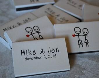 "25 Custom Matchbox Wedding Favors Matchboxes_""Mike & Jen Style"""