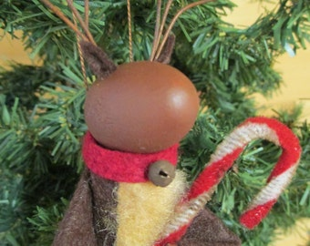 Reindeer Christmas Ornament, Clothespin