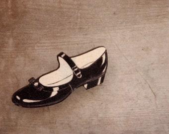 Black Mary Jane Shoe Brooch, Vintage Shoe, Wooden Brooch, Made in Australia