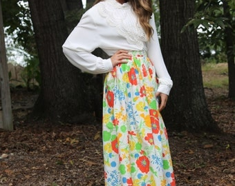 Final Clearance Floral Spring Maxi Skirt by Adelaar