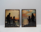 Reverse Silhouette Painting Victorian Captain Sailor and Boy with Convex Glass and Copper Frames Matching Pair