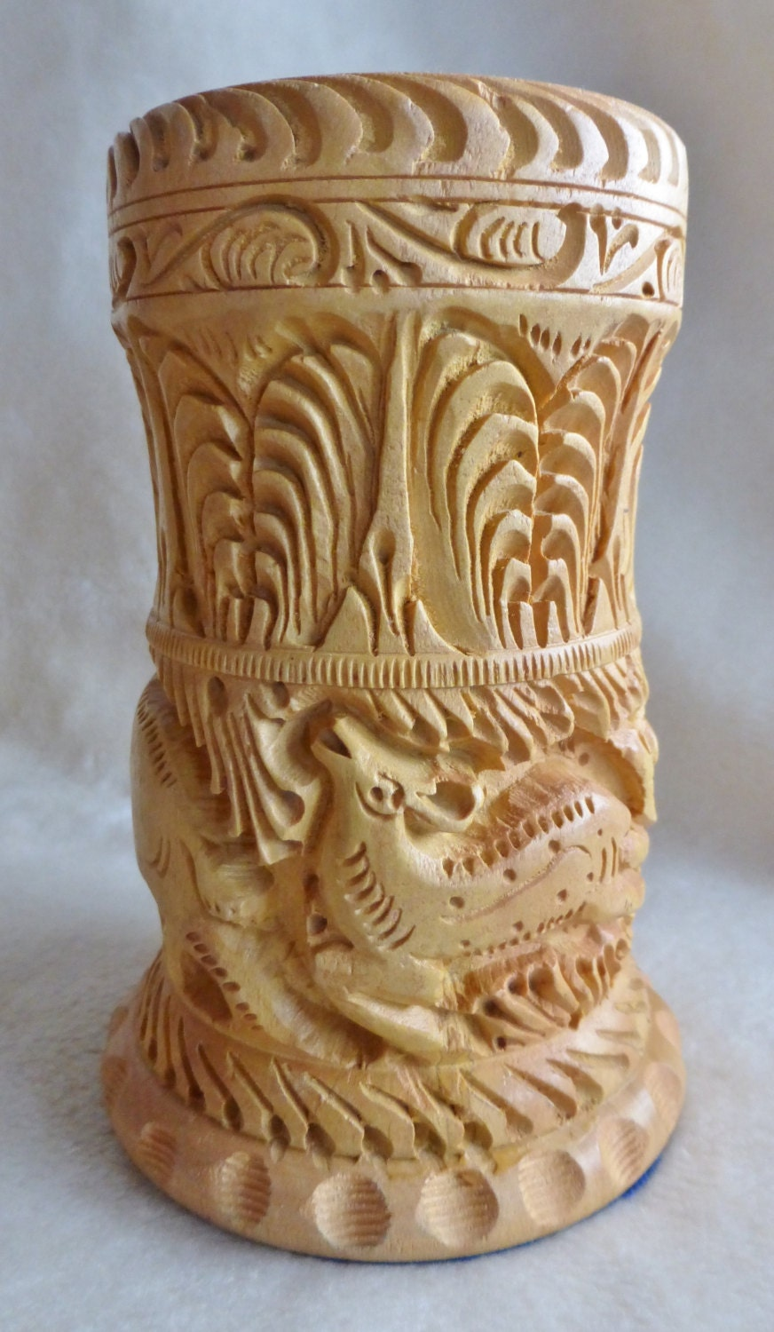 Gorgeous intricately carved light wood pencil holder or small