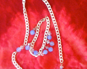 Crystal Ball- White Charm Necklace and Bracelet Set with Baby Blue Czech Beads