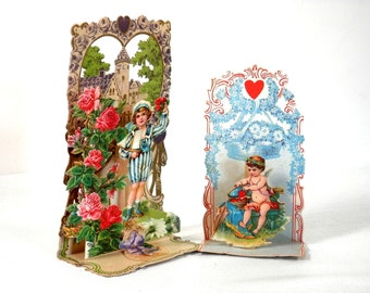 Victorian German Valentines Embossed Cupid and Boy with Sailboat