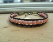 Pink Coral and Leather Woven Bracelet